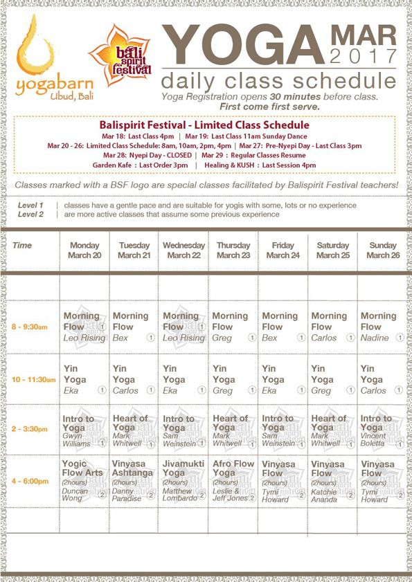 BSF 2017 Schedule