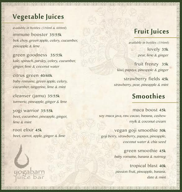 Juice Bar Menu 2 - The Yoga Barn, Ubud - Bali