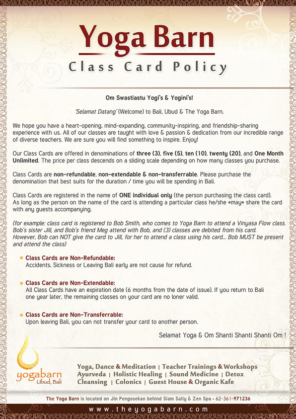Class Card Policy